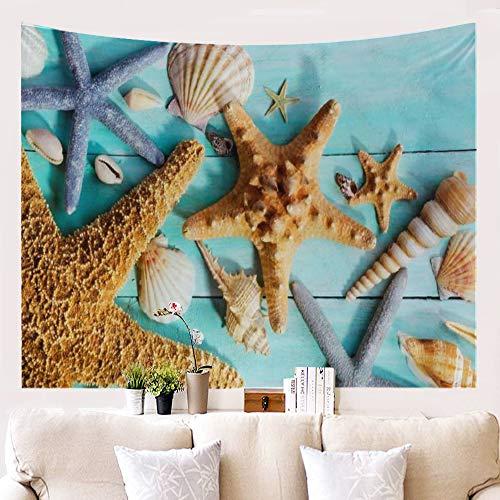BATOHOME Tapices Salon, Tapiz De Pared Grande, Poliéster Tapiz Jardin, Tapiz Playa Barato Concha de Estrella de mar marrón Tapiz 150x230CM