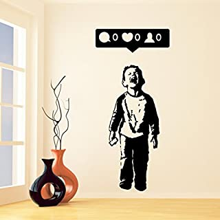 Banksy Vinyl Wall Decal Boy Crying Out for Social Media Attention / Child With Facebook Phone / Street Art Graffiti Sticker + Free Decal (40