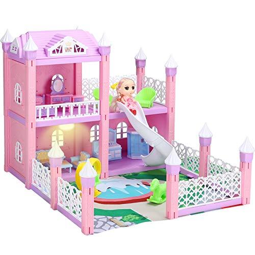 KAINSY Casa Bambole,125PCS Casa delle Bambole per Bambina Giocattolo dei Bambini 2 Piani con Mobili e Accessori Completi e Bambole