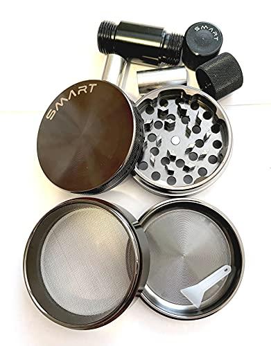 Smart Crusher Black 63mm Aluminum 4 Piece Large Herb Pollen Grinder / Cnc Pollen Press Combo by Smart-Goods
