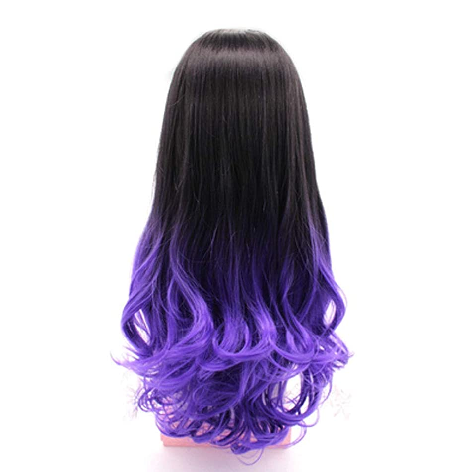 Wig, Female Long Curly Hair Invisible Seamless U-shaped Half Head Full Head One-piece Long Curly Hair Big Wave Highlight (color : Black dyed dark purple)