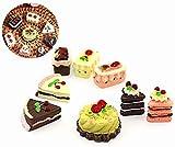 HANBIN Accesorios de decoración de la casa de mu?ecas 8pcs Mini Cake Toy Donut de Pastel en Miniatura Casa de Juguete de Cocina Modelo de Comida de la casa 8pcs Set