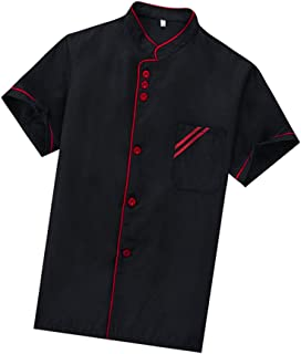 Cabilock Unisex Chef Coat Black Short Sleeve Chef Jacket Uniform Food Service Catering Shirt Cloth for Hotel Restaurant Ba...