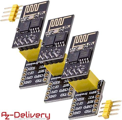 AZDelivery 3 x ESP-01 ESP8266 Modulo Wifi con Adattatore Breadboard per Arduino e con eBook