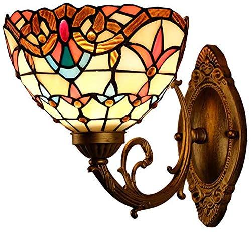 MISLD Tiffany-Stil Wandleuchte Beleuchtung Barock Kinderbett Wandleuchte Spiegel Für Licht, Restaurant, Gang, Bar, Leuchten 8-Zoll-glasmalerei Spiegel