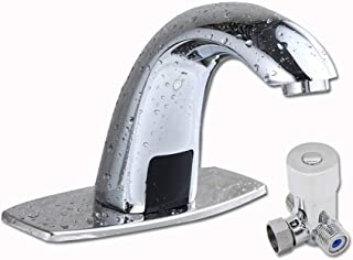 Hot & Cold Automatic Sensor 5.3'' Touch Free Faucet Bathroom Faucet with Battery Box and Mixing Valve, Chrome, AMHZY-12