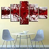 5 teilig modern Wandbilder rote Flagge malerei hintergr& dekoration Für Wohnzimmer