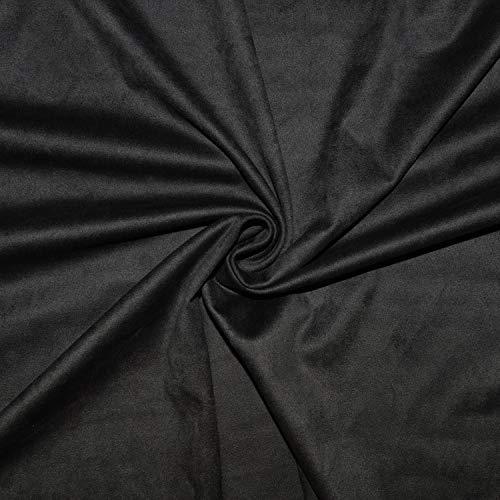 Tejido de antelina negro, grosor medio, magnífica calidad, tela de ante falso negro (retal de 1 m x 1 m42)