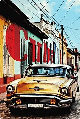 Generisch Blechschild 20x30cm gewölbt Cuba Oldtimer Auto Car Kuba Havana Deko Schild