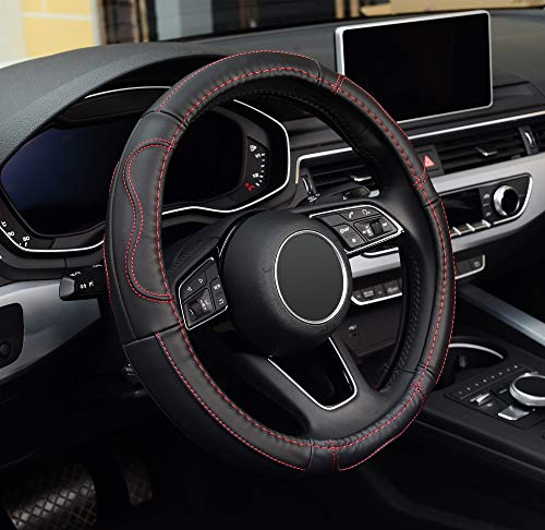 ZHOL Universal 15 inch Microfiber Leather Auto Car Steering Wheel Cover, Black and Red