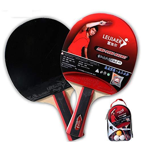 Deyan 2-teiliger professioneller Tischtennis-Tischtennisschläger-Paddelschläger mit 3-teiligem Ballsack-Set für Sport-Indoor-Training
