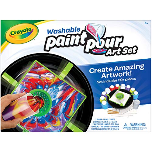 Crayola Washable Paint Pour Set, Paint Set, 20 Pcs, Gift for Teens & Kids