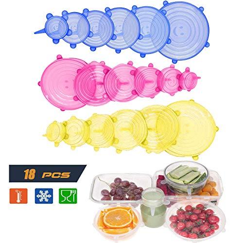 Siliconen Stretch Deksels, Siliconen Voedselhoezen 18-Pack van verschillende maten Siliconen Voedseldeksels, Goede afdichting Bowl Covers Cup Siliconen Deksel- BPA-vrij, Vaatwasser, Magnetron, Oven en Vriezer Veilig