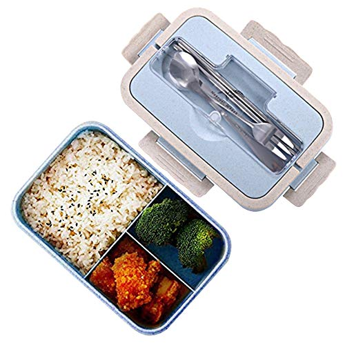 Scatole bento, sicurezza grano naturale 1000 ml lunch box contenitore alimentare ermetico con forchetta bacchette cucchiaio per bambini e adulti, microonde, lavabile in lavastoviglie (Blu)