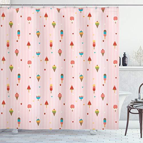 ABAKUHAUS EIS Duschvorhang, Niedliches Pastell-Muster, mit 12 Ringe Set Wasserdicht Stielvoll Modern Farbfest & Schimmel Resistent, 175x240 cm, Mehrfarbig