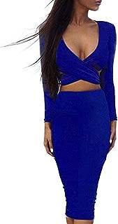 Womens Sexy Long Sleeve Cut-Out Bandage Bodycon Clubwear Midi Dress