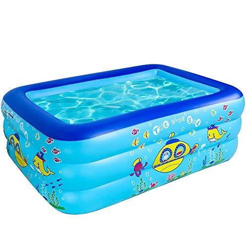 Piscine Gonfiabili Giochi All aperto 3 Strati Rettangolari Addensati Famiglia Giardino Giochi Aquatici per Bambini Adulti, 160 x 120 x 55 CM