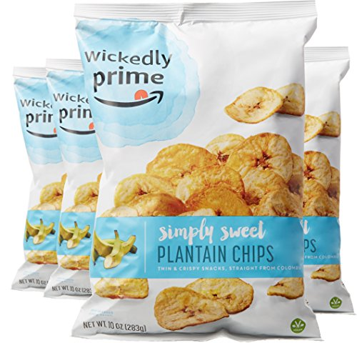 Wickedly Prime Plantain Chips, Simple & Slightly Sweet, 10 Ounce (Pack of 4)