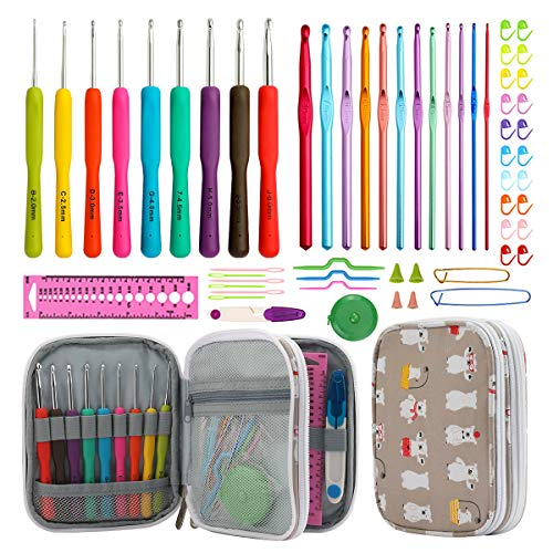 KOKNIT Craft Crochet Kit, Ergonomic Comfortable Smooth Handle Hooks for Any Crochet Projects, Including Pretty & Durable Case and Great Supplies, Mother's Day Gift