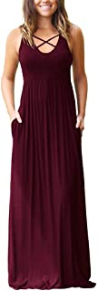 EZBELLE Women's Sleeveless Racerback Maxi Dresses with Pockets Plain Loose Long Dresses