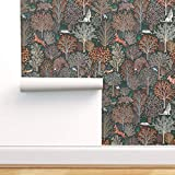 Spoonflower Peel and Stick Removable Wallpaper, Fall Leaves Forest Animals Deer Rustic Woodland Trees Print, Self-Adhesive Wallpaper 12in x 24in Test Swatch