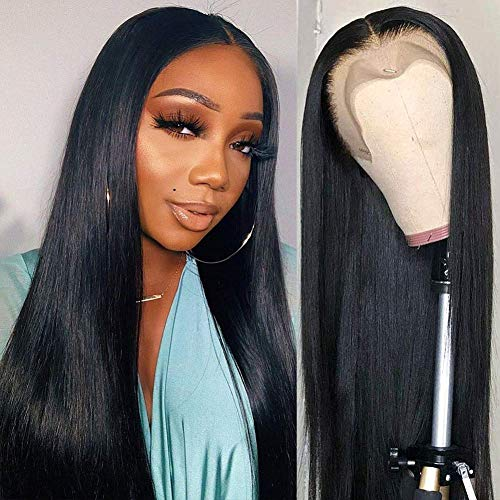 "BLISSHAIR 16"" Full Lace Wig Human Hair Perruque Lace Front Cheveux Naturels Meches Straight Perruque Bresilienne Cheveux Femme Naturels 180% densité Hairline With Baby Hair for Black Women"