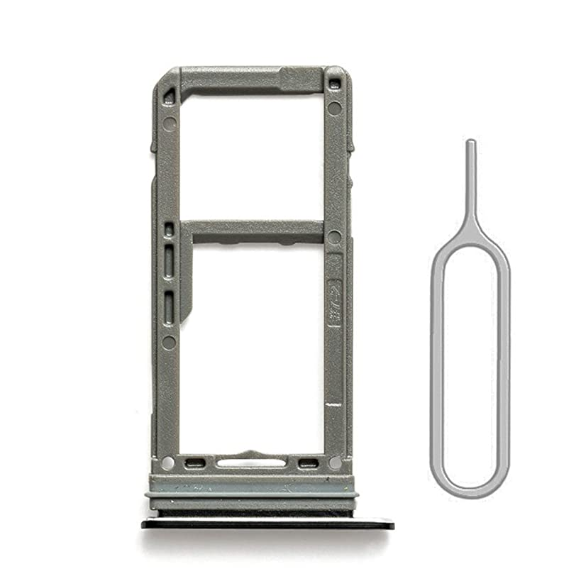 SIM Card Tray Holder Slot Replacement with Gasket for Samsung Galaxy S8 G950 and S8 Plus G955 (Black) with Sim Card Tray Open Eject Pin