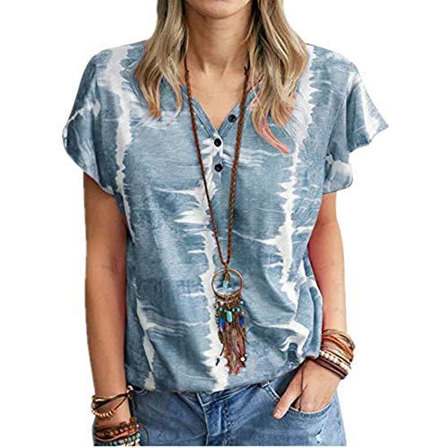 Verano Casual Ropa De Mujer Camiseta Superior Abotonada Estampada Suelta