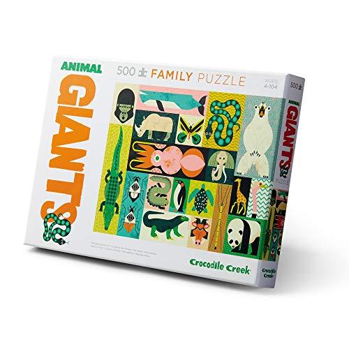 Crocodile Creek - Animal Giants - Rompecabezas familiar de 500 piezas - para todas las edades de 4 años en adelante - Caja resistente para almacenamiento - Puzzle acabado es de 45,7 x 60,9 cm
