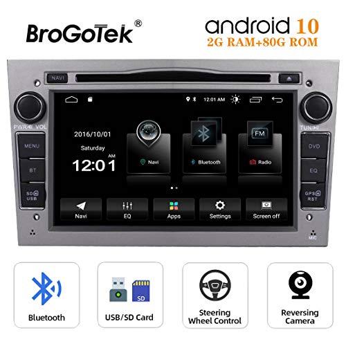 Autoradio Android 10 Coche Radio 7 Pulgadas 2 Din para Opel Vauxhall Corsa Zafira Antara Astra Vectra Meriva con Navegación GPS Reproductor de DVD Bluetooth Pantalla Táctil WiFi Controles Volante Gris