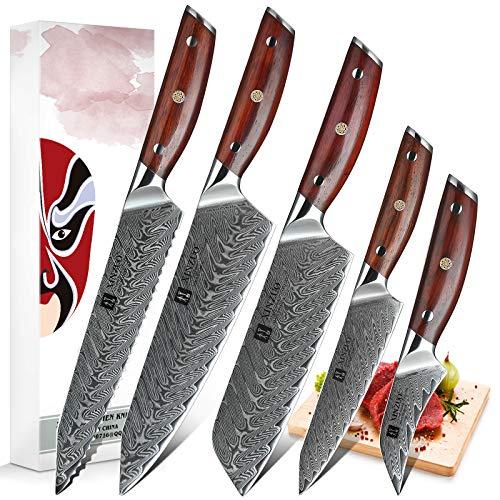 XINZUO 5 Piezas Set Cuchillo Cocina Acero de Damasco, Profesional Cuchillo de Cocinero Japonés Cuchillo Chef Santoku Universal Fruta Cuchillo de Pan con Ergonómico Mango de Rosewood -Yi Serie