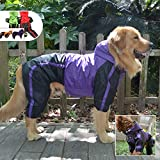 Lovelonglong Alaska Dog Hooded Raincoat, Golden Retriever Rain Jacket Poncho Waterproof Clothes with Hood Breathable 4 Feet Four Legs Rain Coats for Large Huge Dogs Purple L-XL+