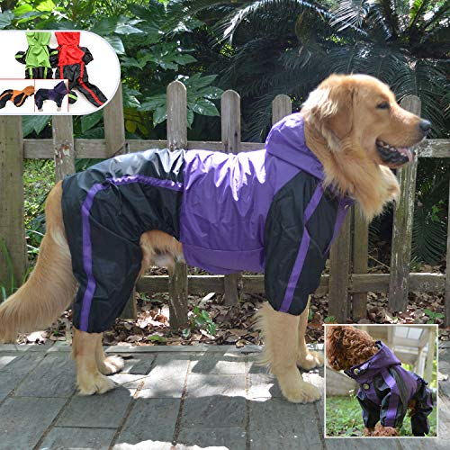 Lovelonglong Alaska Dog Hooded Raincoat, Golden Retriever Rain Jacket Poncho...
