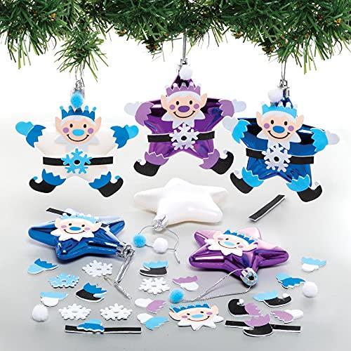 Baker Ross FE769 Kit di Palline di Natale Elfo a forma di Stella - Confezione da 6, Crea le tue Decorazioni Natalizie, Addobbi Natalizi per l'Albero per Bambini da Decorare ed Esporre