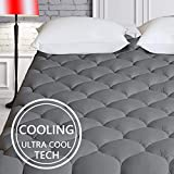 HARNY Cooling Mattress Pad Cover Pillow Top Dark Gray Olympic Full XL Size Ultra Cool TECH Fabric Breathable Mattress Topper Quilted Fitted with 8-21' Deep Pocket