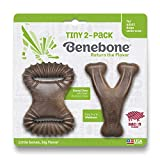 Benebone Tiny 2-Pack Dental Chew/Wishbone Dog Chew Toys, Made in USA, Real Bacon Flavor