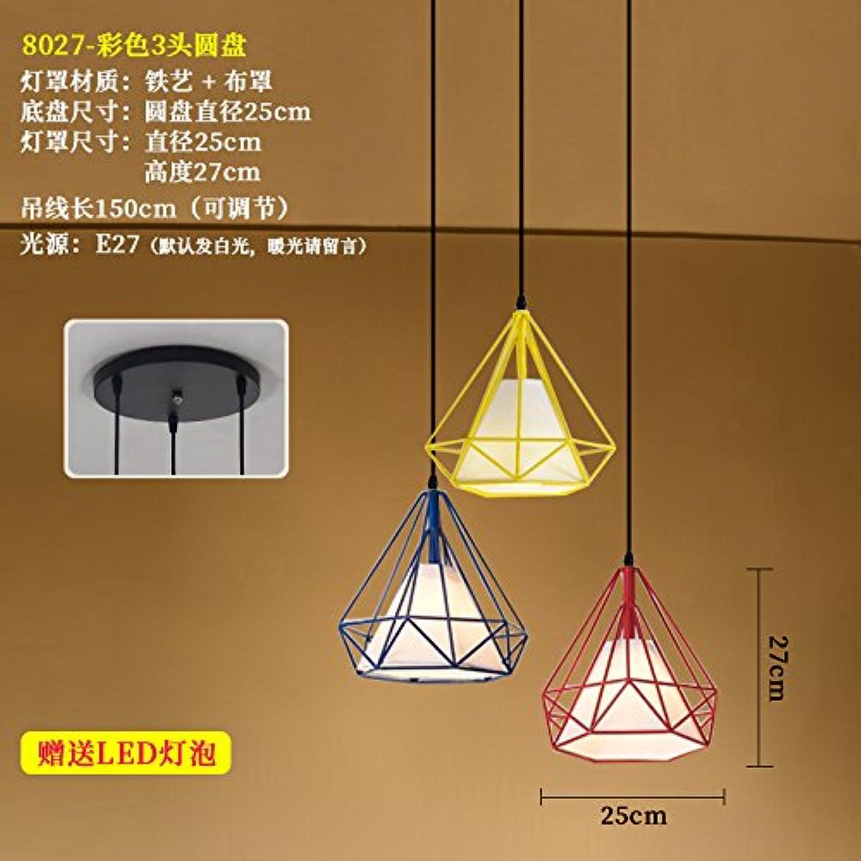 Luckyfree Einfache moderne Pendelleuchte Zimmer Bar Cafe Restaurant Küche Flur Lampen Deckenleuchte Kronleuchter 8027 Disc 3 Farbige Diamanten