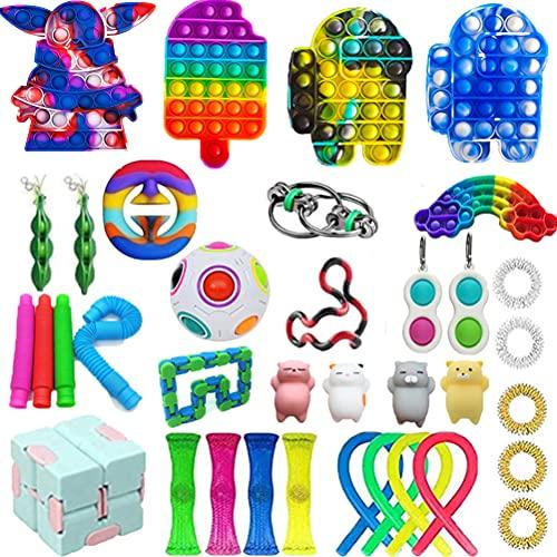 Paquete de 36 Piezas de Juguetes Fidget, Juguetes sensoriales Fidget Baratos, Fidget Toy Set Fidget Packs Fidget Box, Fidget Pack con Stress Ball Marble Mesh, Regalos para niños, Adultos con A