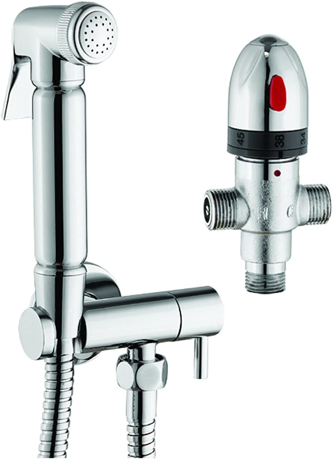 Douche Kit with Thermostatic Mixing Valve, Silver