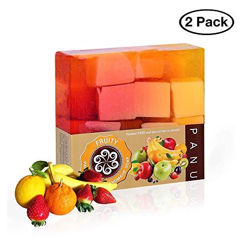 Panu Fruity Seife – Vegane Naturseife für alle Hauttypen - Seifenstück als Gesichtsseife und Haarseife - Handmade Shampoo Bar Soap –Duschseife Männer und Frauen Tierversuchsfrei