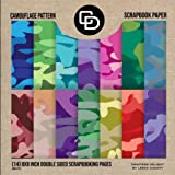 Camouflage Pattern Scrapbook Paper (14) 8x8 Inch Double Sided Scrapbooking Pages: Crafters Delight By Leska Hamaty