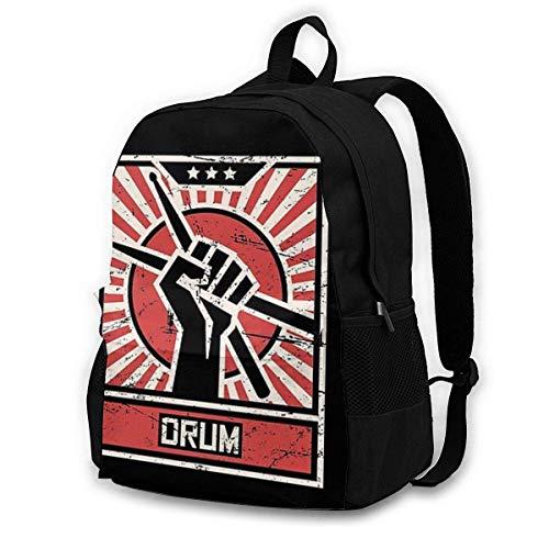 FGHJY CHENWE Drum - Vintage Schlagzeuger Propaganda Poster Adult Classic Rucksack Outdoor Freizeit Rucksack Studententasche