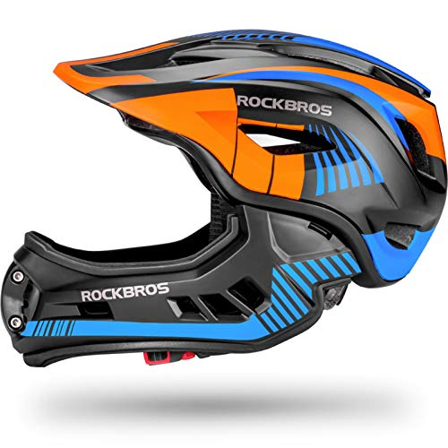 ROCK BROS Kids Bike Helmet Toddler Full Face Helmet Detachable Ultralight Mountain Bike Cycling Helmet for BMX Bicycle, Skateboard, Scooter, Child Safety Helmet Protective Gear CE Certified