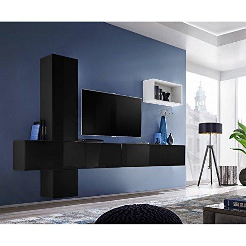 Paris Prix - Meuble TV Mural Design blox VI 280cm Noir & Blanc
