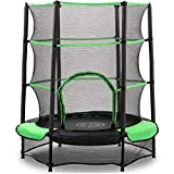 AOKCOS 4.5Ft Kids Trampoline with Safety Enclosure Net and Safety Pad - Small Round Trampolines for Toddler Indoor Outdoor Jumping, Green RT137001PG