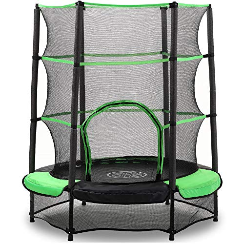 AOKCOS RT137001PG - Trampolino per bambini con rete di sicurezza e imbottitura di sicurezza, piccolo tappeto elastico rotondo per bambini per interni ed esterni, verde
