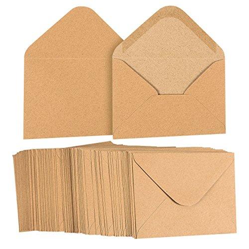 A2 Envelopes Bulk - 100-Count A2 Invitation Envelopes, Kraft Paper Envelopes for 5 x 4 Inch Wedding, Baby Shower, Party Invitations, V-Flap Photo Envelopes, Brown, 5.75 x 4.375 Inches