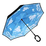 Tooge 逆さ傘 長傘 オシャレ 車用傘 外袋付き 閉じると自立可能 耐風 撥水 遮光遮熱 コーティング C型手元 UVカット 8本骨 晴雨兼用 男女兼用 (青空)
