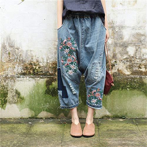 FCWJHNTSL Damen Baggy Low Crotch Jeanshose Plus Size Elastic Waist Floral Bestickte Jeans Hip Hop Übergroße Haremshose Freund