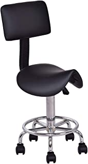 COSTWAY Taburete con Respaldo Giratorio Altura Ajustable Cosmético Silla para Barbero para Trabajo SPA Tienda de Uñas Bar Asiento (Negro)
